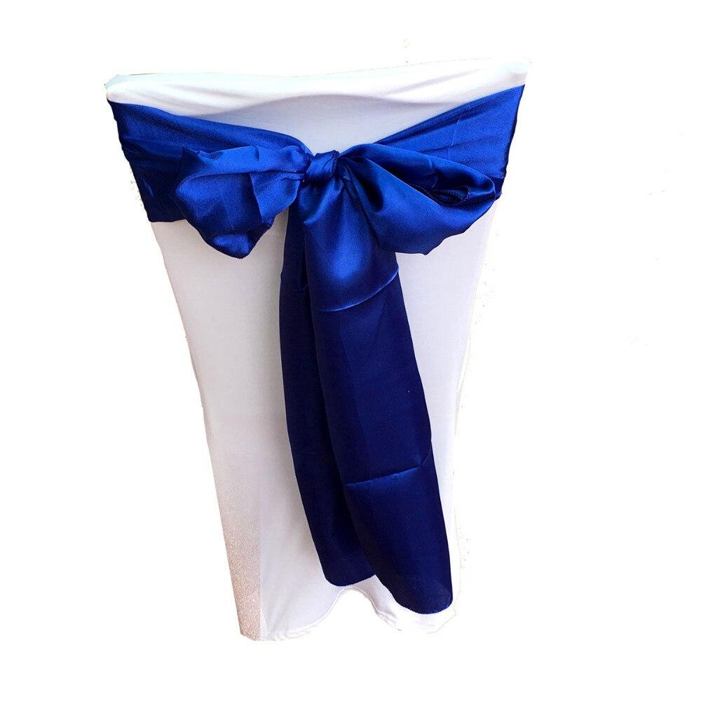 """50 진한 파란색 6 """"x 108"""" 의 자 밴드 새틴 의자의 팩 신부 웨딩 파티 공급에 대 한 활 장식-에서띠부터 홈 & 가든 의  그룹 1"""