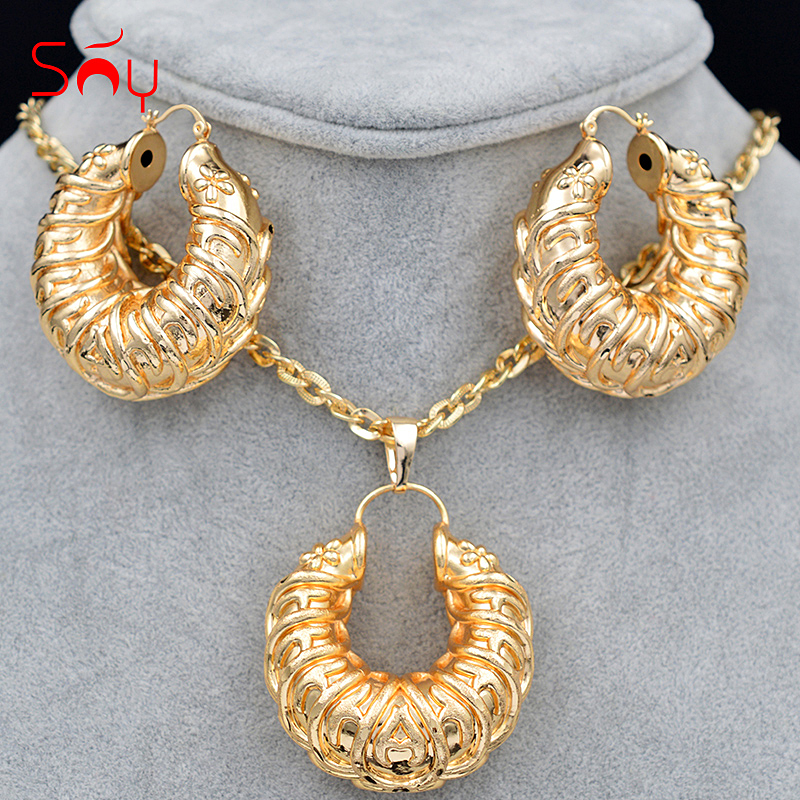Sunny Jewelry Women Big Jewelry Sets Necklace Earrings Pendant Romantic Flower Jewelry Sets For Party Copper Jewelry Findings