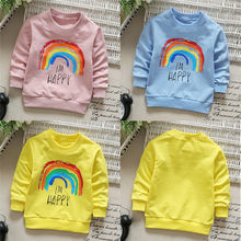 2018 Kids Girls Fashion Clothing Toddler Kids Girls Boys Long Sleeve Rainbow Soft Tops T-Shirt Warm Clothes #30O26 #F(China)