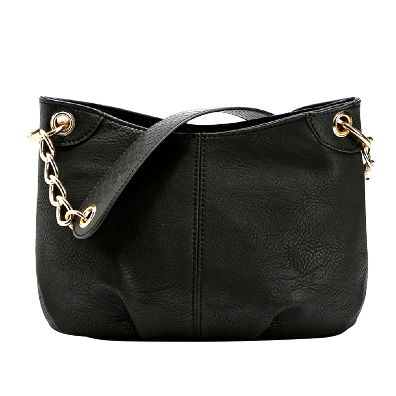 European Style Women Single Shoulder Bag PU Leather Chains Strap Woman Bags Solid Ladies Messenger Bags With Zipper Pocket