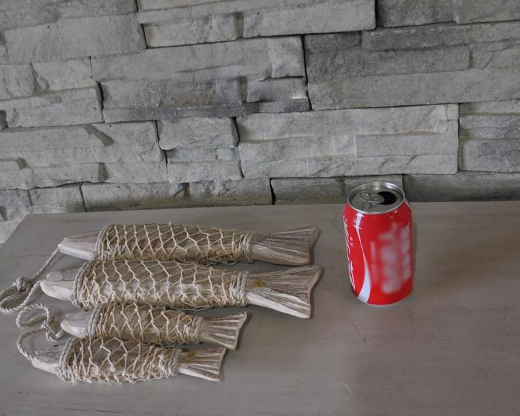 Mjete peshku prej druri mesdhetar të gdhendur në mur prej druri të - Dekor në shtëpi - Foto 5