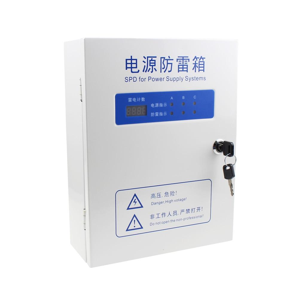 Boîtier de Protection contre la foudre d'alimentation triphasée 380 V 20KA40KA80KA100KA compteur de foudre parafoudre