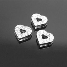 8mm/10mm Rhinestone Heart Slide Pendants DIY Accessories Diameter Belt Bracelet Animal Collar Keyring Jewelry And Components(China)