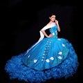 Vestidos de 15 anos azul Vestidos Quinceanera querida Long Train Vestidos de baile belos bordados Quinceanera vestido