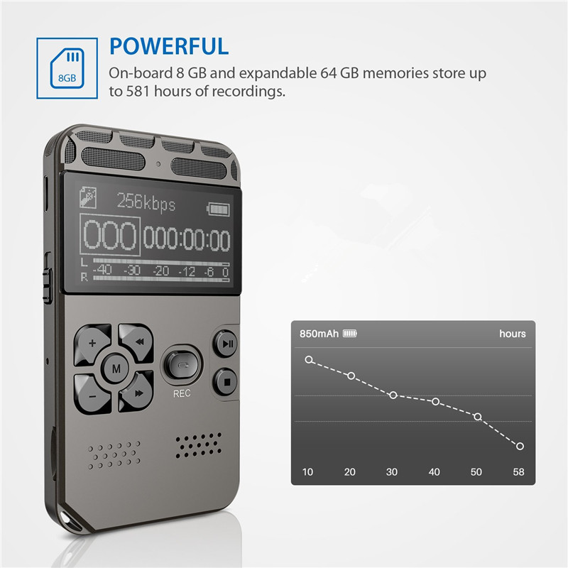 Professional Digital Voice Recorder 8GB Audio Sound Recorder Voice Activated Dictaphone for Meeting with MP3 Player 1 6 screen digital voice recorder mp3 player black 8 gb