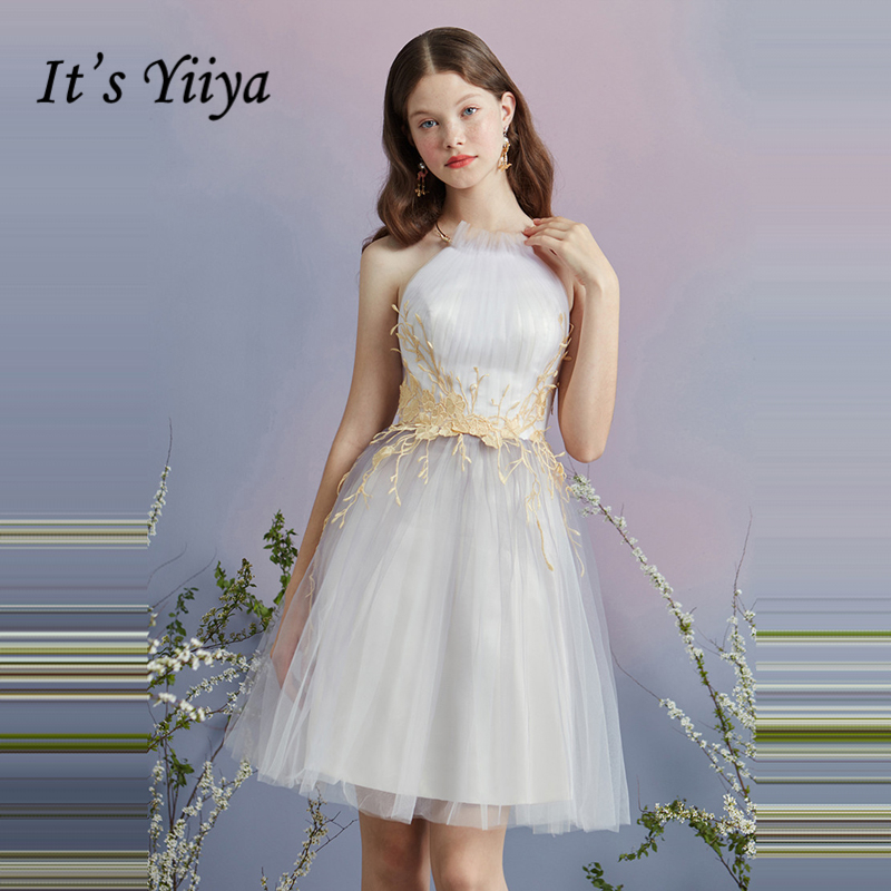It s YiiYa Cocktail Dress 2018 Party Sleeveless Flower Pattern Tulle  Fashion Designer Elegant Short Cocktail Gowns 88887e64ed96