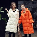 Ocasional 2016 das mulheres elegante turn-down collar espessamento térmico médio-longo para baixo casaco feminino outerwear pato para baixo mulheres jaqueta