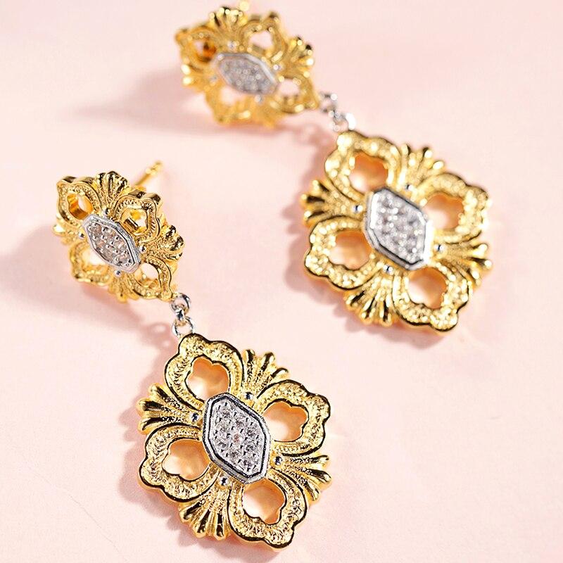 925 Silver Zircon Ear Stud Jewelery Women European Court style vintage style