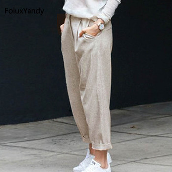 Casual Linen Pants Women Plus Size 6 XL Loose High Waist Ankle-Length Pants Trousers OMW07