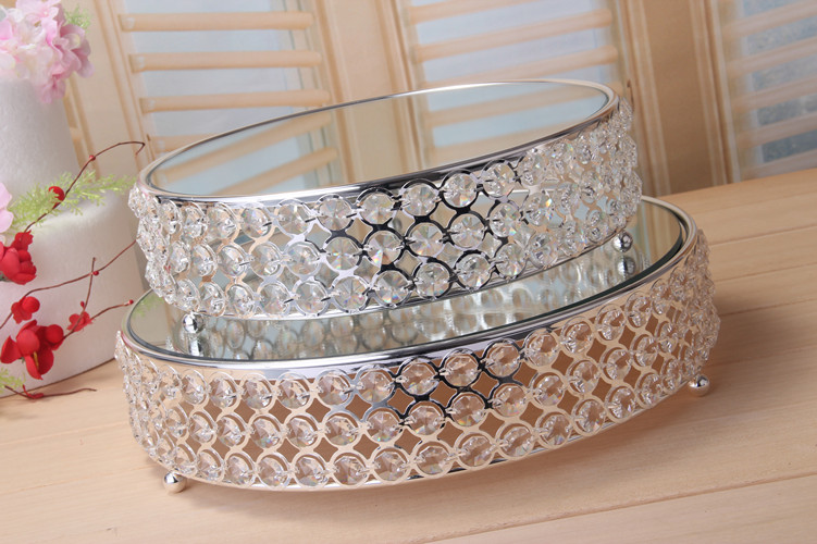 Free Shipment Silver Cake Stand Mirror Glass Crystal Dessert Serving Tray Fruit Plate for Hotel Wedding birthday Party Event dec