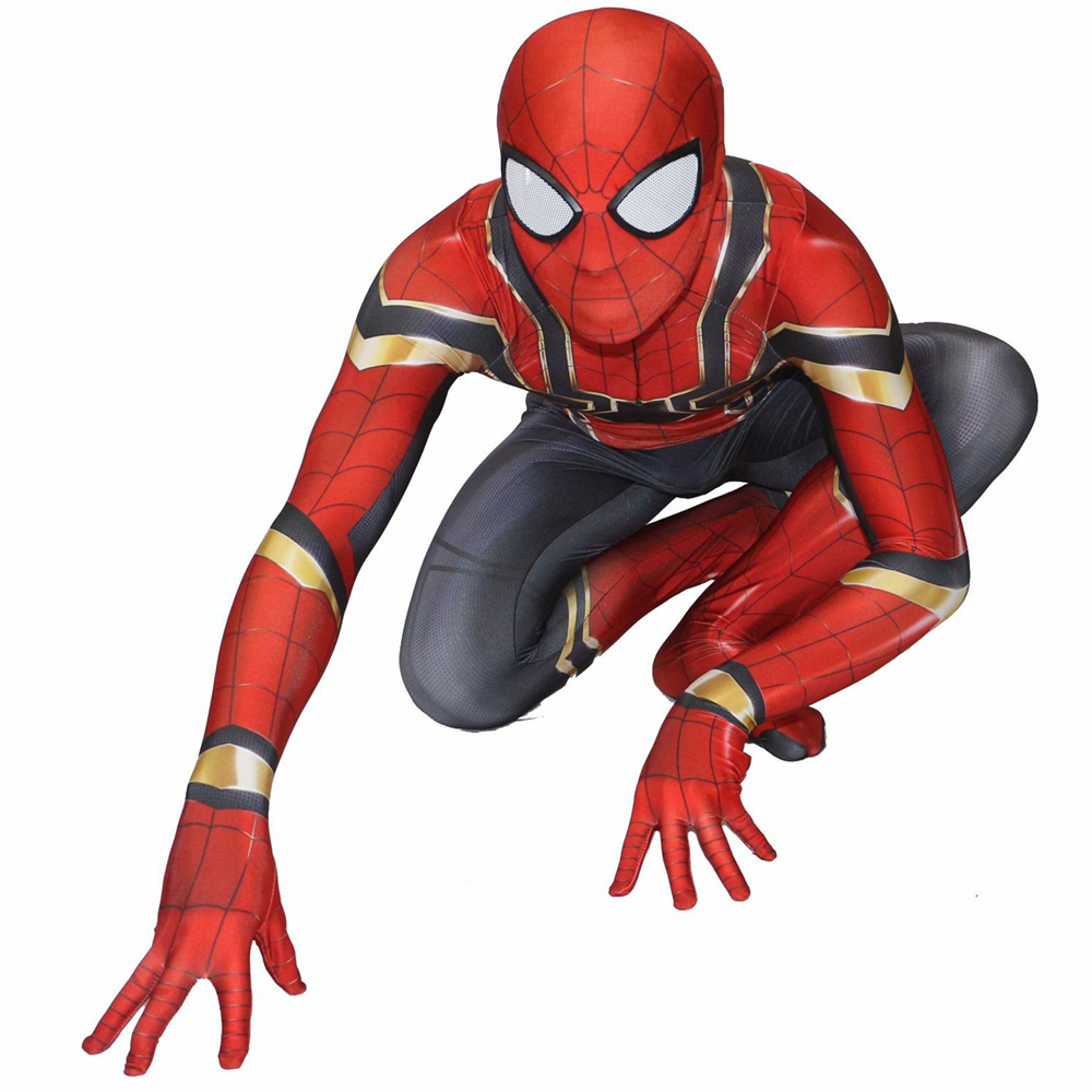 2018 New Spiderman Homecoming Cosplay Costume Zentai Iron Spider-Man Bodysuit Suit Superhero Jumpsuits For Men