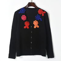 2017 Autumn V Neck Hollow Out Flower Patchwork Jacquard Weave Patchwork Cardigan Knitwear Fashion Retro Jersey