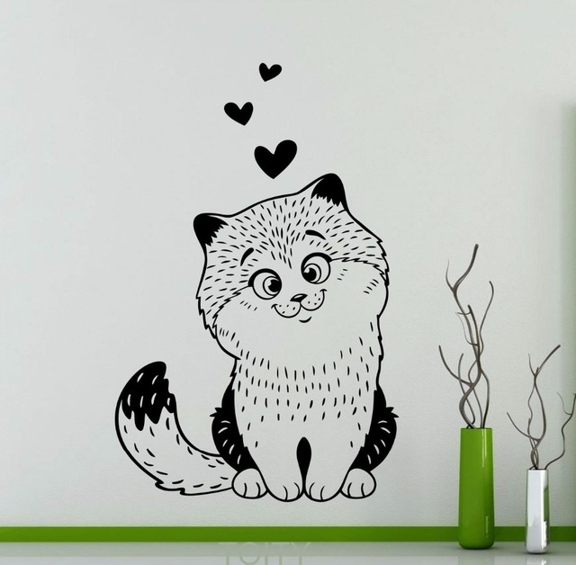 Kitten love wall sticker cute kitty pets cat vinyl decal home kids girl nursery room interior