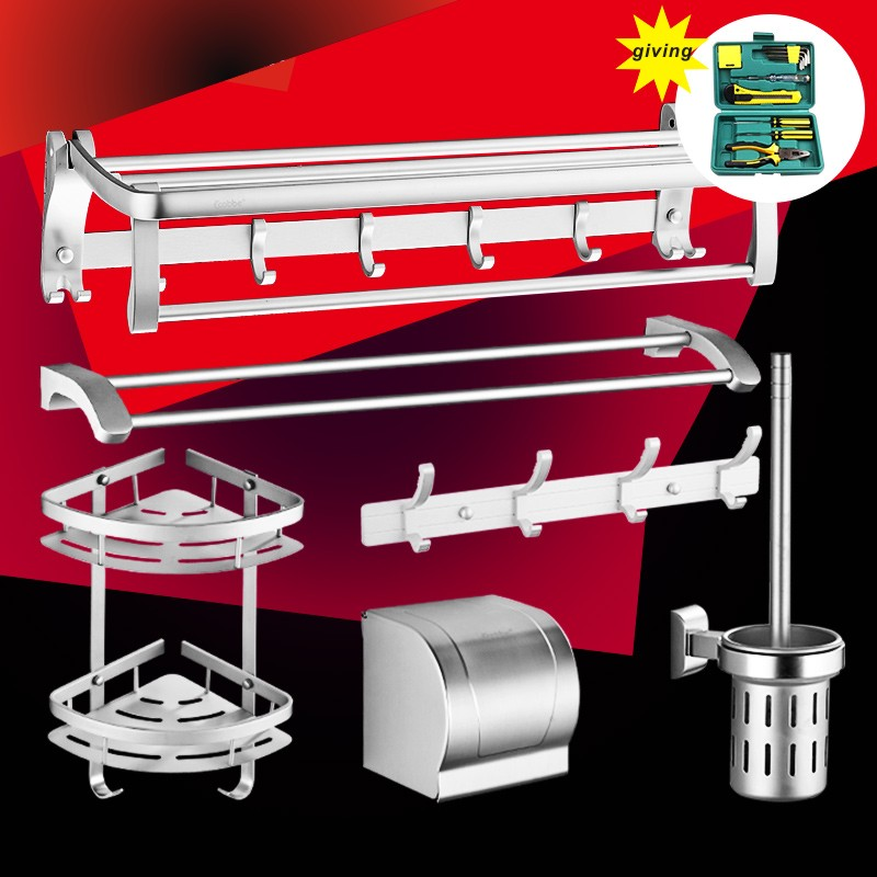 Free shipping Bright silver aluminium bathroom towel rack holder for towel bathroom accessories towel hanger storage wall shelf