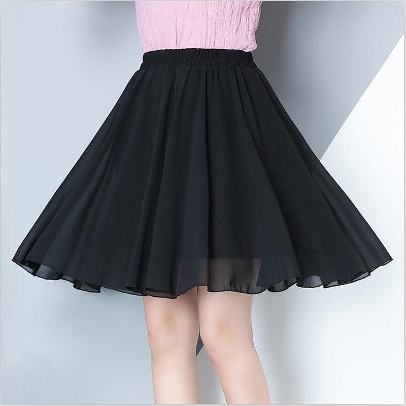 2019 Women Summer Chiffon Solid Mini Skirt 7 Color Casual Loose All-Match Elegant Sweet Skirt Vestido Plus Size Skirt M-7XL