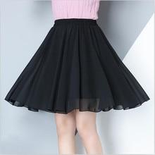 2020 المرأة الصيف الشيفون الصلبة تنورة صغيرة 7 اللون عادية فضفاض كل مباراة أنيقة الحلو تنورة Vestido حجم كبير تنورة M 7XL