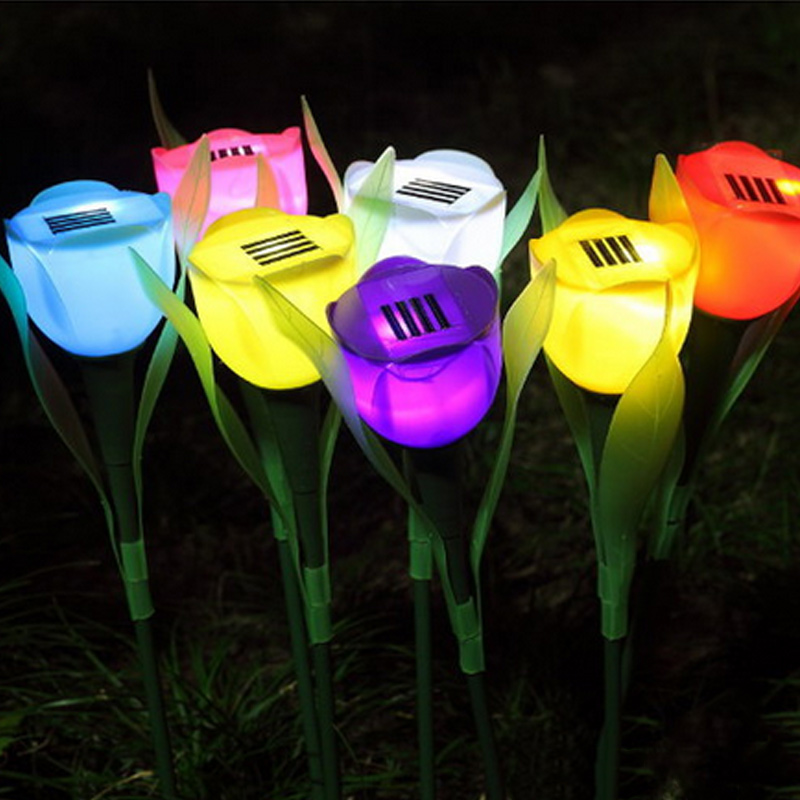 New Outdoor Yard Garden Solar Power LED Lamp Flashing Romance Tulip Flower Shape Light Lawn Decoration Outdoor Lights HR