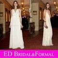 Olivia Palermo Gala premios Spa noche de la celebridad vestidos V cuello blanco gasa largo vestido de baile