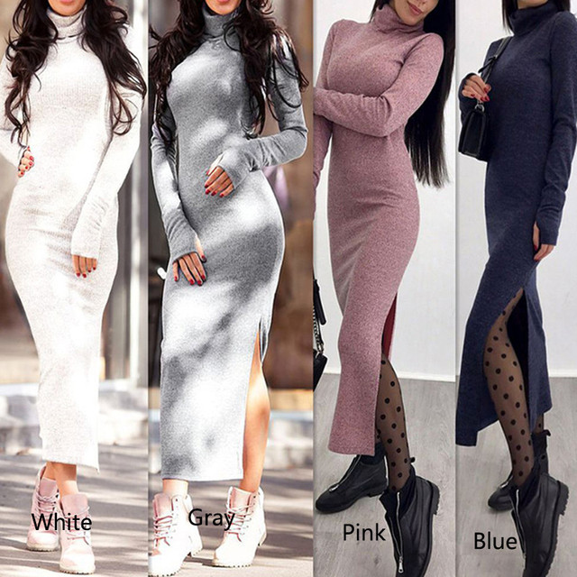 1f3a8800fd7a 2018 autumn winter dress Warm dress High neck Long sleeve Sexy clothes Slim  Dress Knitted Dress Casual Party Elegant Dresses