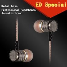 KZ ED2 Stereo Metal Earphones Noise Cancelling Earbuds In Ear KZ-ED2 Headset Earbuds Heavy Bass sound DJ MP3 fone de ouvido