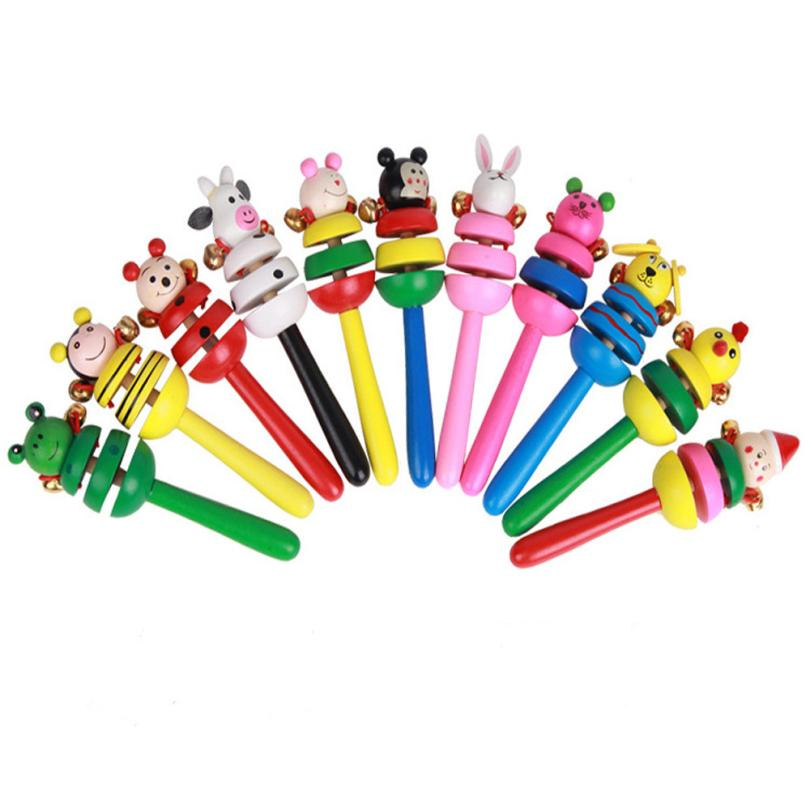 2018 New Wireless Instrument Toys for Girls boy 2PC Baby Toy Cartoon Animal Wooden Handbell Musical Instrument Random Style