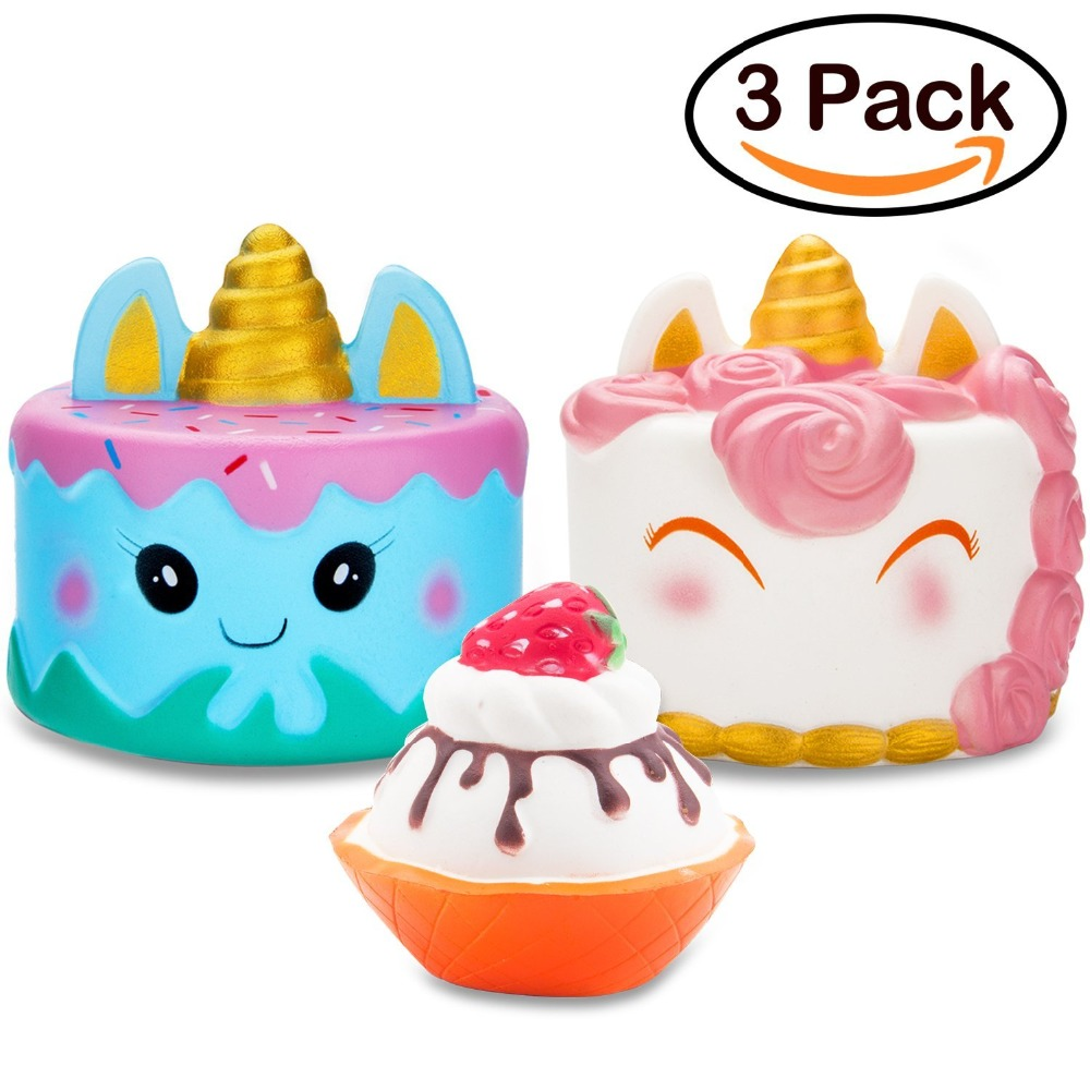 Litchi Jumbo Narwhal Cake Squishy Kawaii Cute Unicorn Mousse Ice Cream Scented Squishies Slow Rising Kids Toys Doll Stress