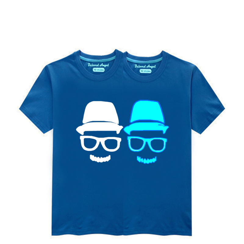 Children Clothing T-Shirt For Boys Fashion T Shirt Teen Girl Luminous Cotton Tops Teenage Boy Glow In Dark Kids Clothes Tshirts