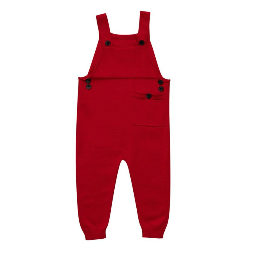 2018 Toddler Kids Baby Boys Girls Knitted Overalls Strap   Rompers   Jumpsuit Outfits baby clothes baby boy clothes baby clothing