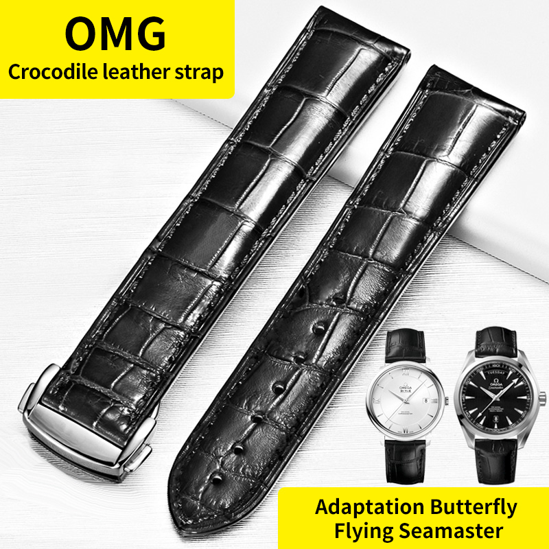 Substitute OMEGA Strap Genuine Leather Crocodile Leather Strap Butterfly Flying Speedmaster Seamaster Strap For Men 20mm-in Watchbands from Watches    1