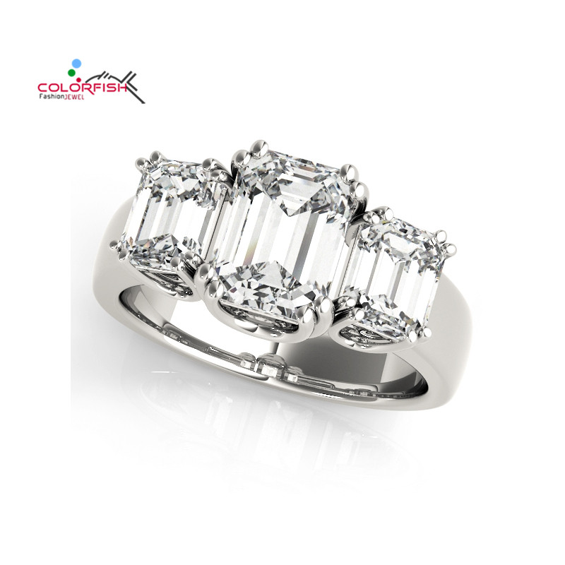 COLORFISH Women Engagement 3 Ct Square Cut Three Stone Ring 925 Sterling Silver Women Jewelry Sona Synthetic Wedding Band Ring