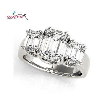 868401b14687 COLORFISH mujeres Compromiso 3 Ct cuadrado corte tres piedra anillo 925  plata esterlina mujeres joyería Sona sintético anillo de boda