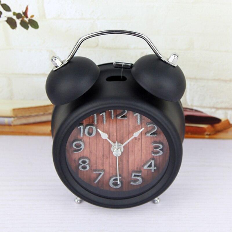 Alarm Clocks Wooden Snooze Backlight Alarm Clock Battery Powered Metal Desktop Digital Table Clocks Gradually Ringing Alarm Bell Desk Clock