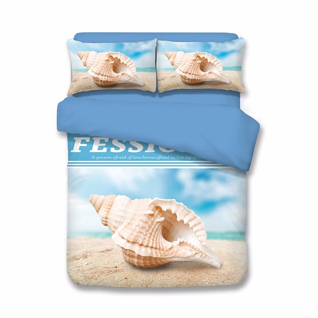 3D Conch Shells And Starfish Beach Bedding Set US Twin Queen King Size  Duvet Cover Set