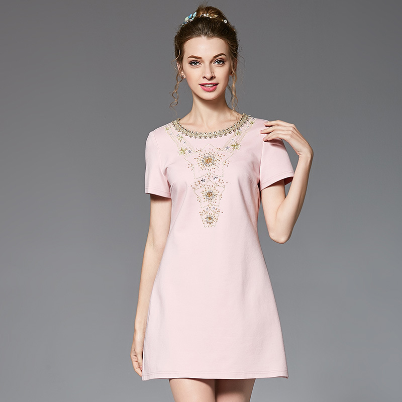 OUYALIN L 5XL Embroidered Women Plus Size Dress 2017 Summer Luxury Crystal  Beading O neck Short Sleeve Mini Dresses Vestidos-in Dresses from Women s  ... 92b05fb59609