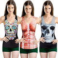 2015 3D Цифровой Лето Сексуальная Готический Панк женщин Печатный Топы Блузка