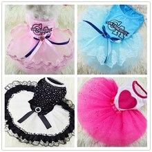 Fashion Pet Cat Dog Tutu Dress Rhinestone Bowknot Puppy Princess Party Wedding Skirts Girl Clothes Wholesale