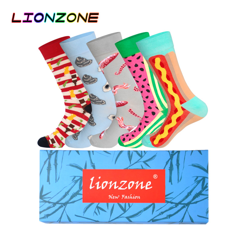 LIONZONE 5Pairs/Lot Fruit Food Series Funny Socks With Fish Shrimp Cherry Mango Lemon Watermelon Patterns Hip Hop Men Socks
