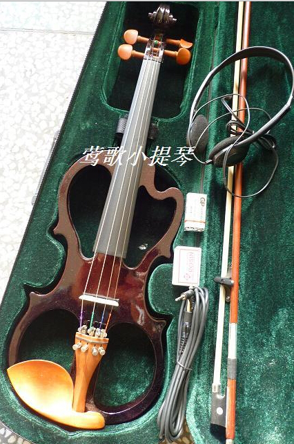Manufacturers selling High quality electronic manual violin Wine red flashing electric violin free shipping цена