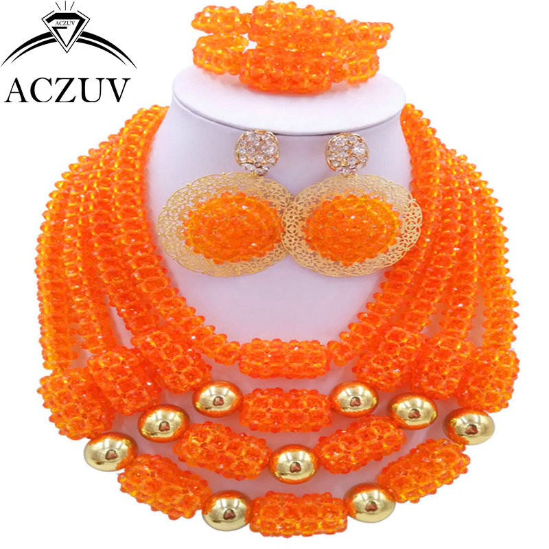 ACZUV Latest Nigerian Necklace Wedding Jewellery Orange African Beads Jewelry Set 2017 D4R008ACZUV Latest Nigerian Necklace Wedding Jewellery Orange African Beads Jewelry Set 2017 D4R008