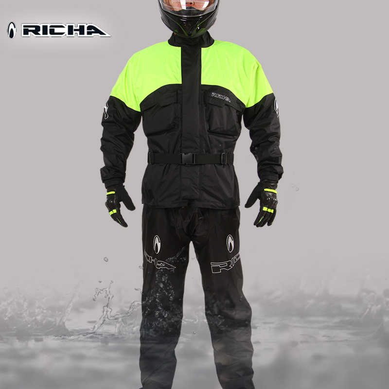 RICHA Motorcycle Breathable Raincoat for Men and Women Summer Waterproof Suit Adult Split Rain Coat and Pants Rainwear
