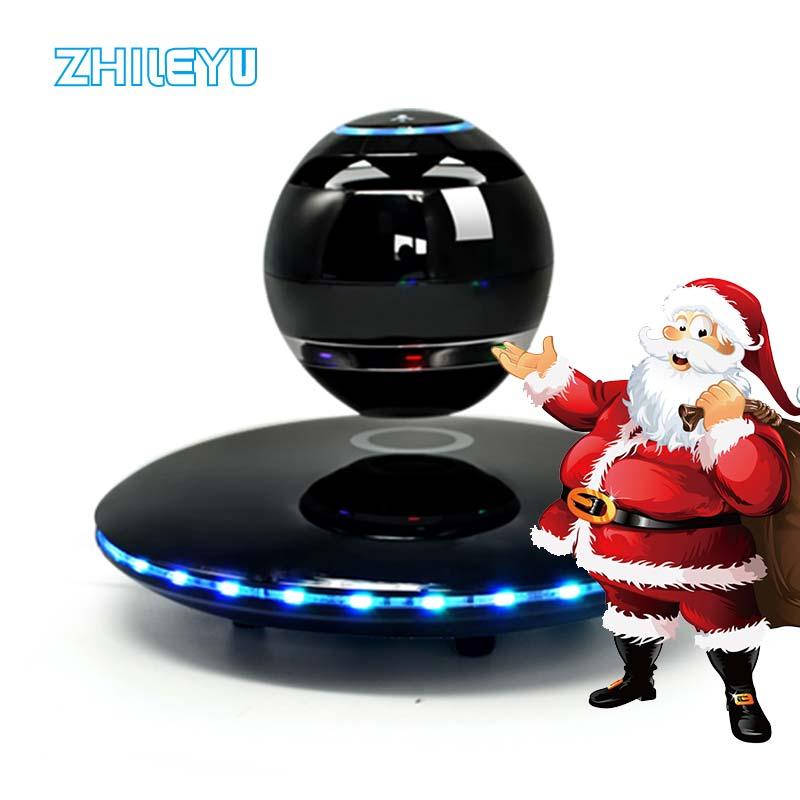 Магнитный левитирующий Bluetooth динамик Портативный беспроводной стерео бас динамик s с красочным светодио дный Ом 360 градусов вращения с Micropho купить на AliExpress