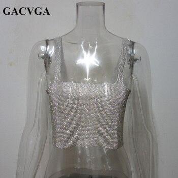 GACVGA 2020 Glitter Women Rhinestone Party Tank Tops Summer Beach Crystal Bustier Crop Top Sexy Diamonds Nightclub T-Shirt Camis 4