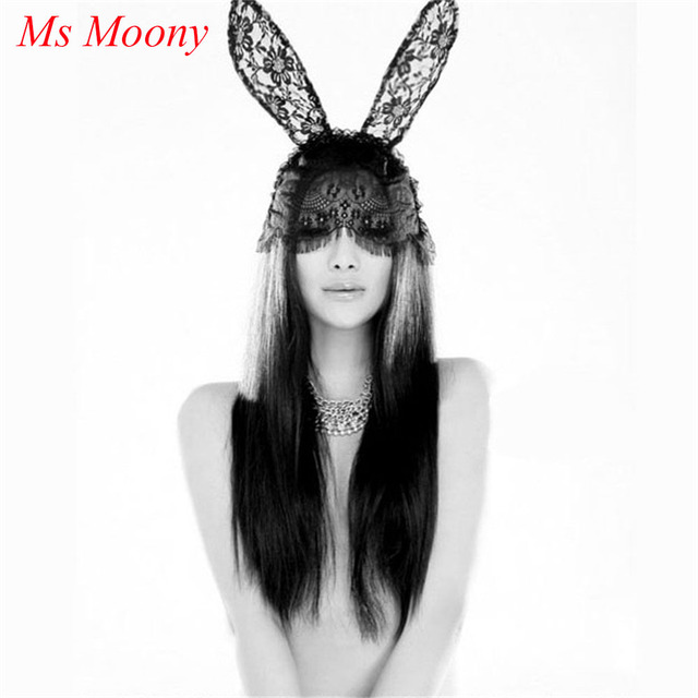 18f0797bd2b Fashion Women Girl Hair Bands Lace Rabbit Bunny Ears Veil Black Eye Mask  Halloween Party Headwear Hair Accessories Q147