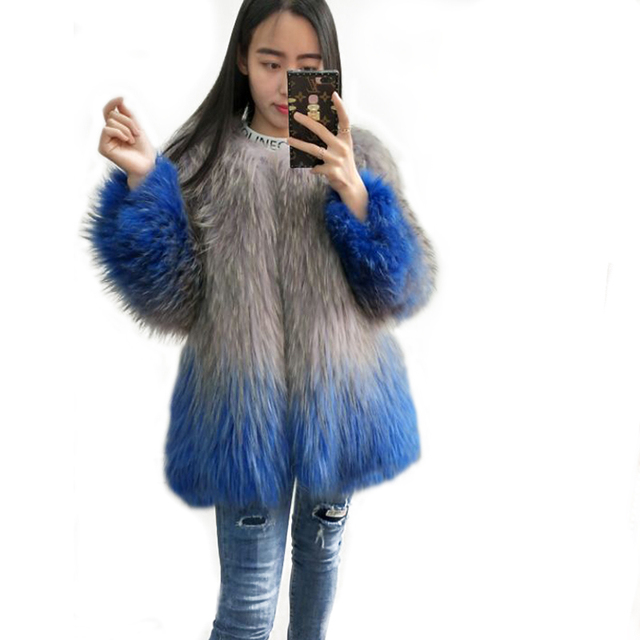 The new simple female Raccoon Dog Fur Real fur leather jacket winter in the long thin shirt