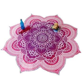 Lotus Flower Table Cloth Yoga Mat India Mandala Tapestry Beach Throw Mat Beach Mat Cover Up Round Beach Pool Home Blanket 5