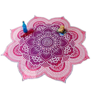 Image 5 - Lotus Flower Table Cloth Yoga Mat India Mandala Tapestry Beach Throw Mat Beach Mat Cover Up Round Beach Pool Home Blanket