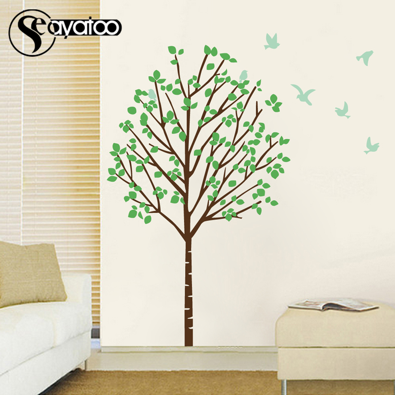 Large Tree Birds Wall Decal Sticker Removable Bedroom Living Room Stickers Home Decor 170x176cm in Wall Stickers from Home Garden