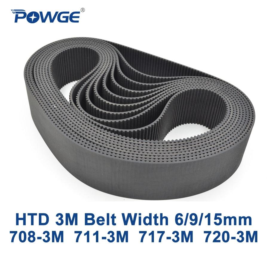 POWGE HTD 3M Timing belt C= 708 711 717 720 width 6/9/15mm Teeth 236 237 239 240 HTD3M synchronous 708-3M 711-3M 717-3M 720-3M powge arc htd 3m timing belt c 264 267 270 273 width 6 9 15mm teeth 88 89 90 91 htd3m synchronous 264 3m 267 3m 270 3m 273 3m