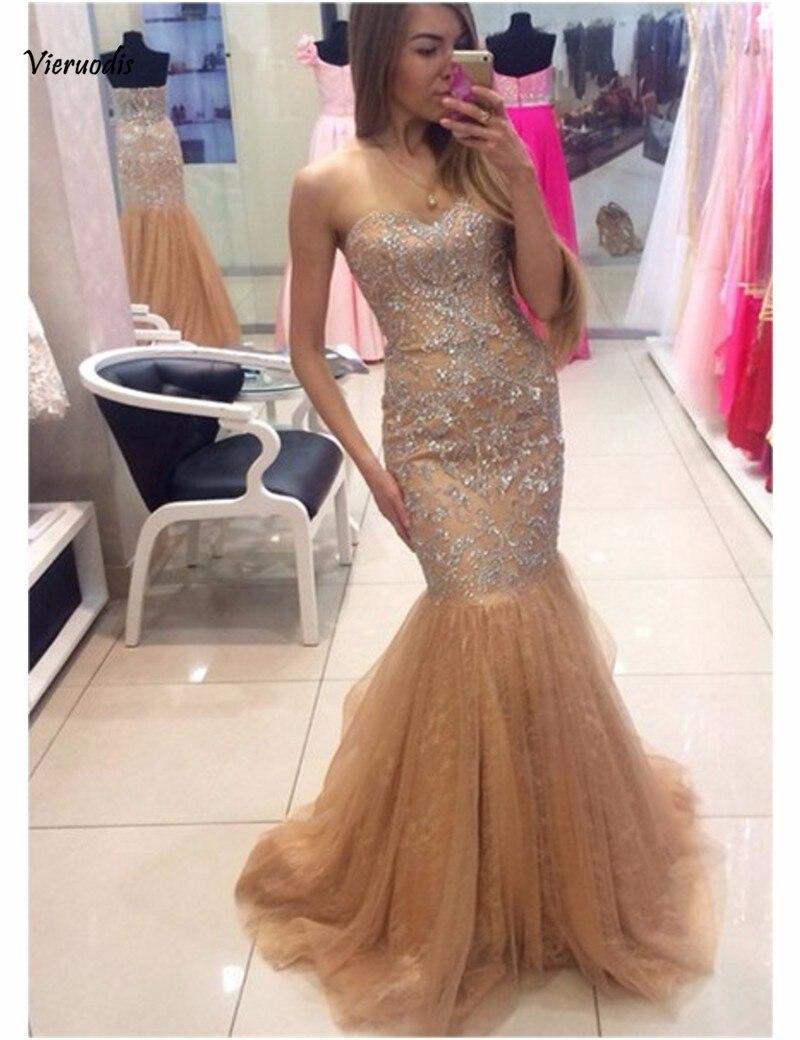 Paillettes perlées cristal femmes robes de soirée formelles longueur de plancher longue sirène robes de soirée longo vestidos de festai
