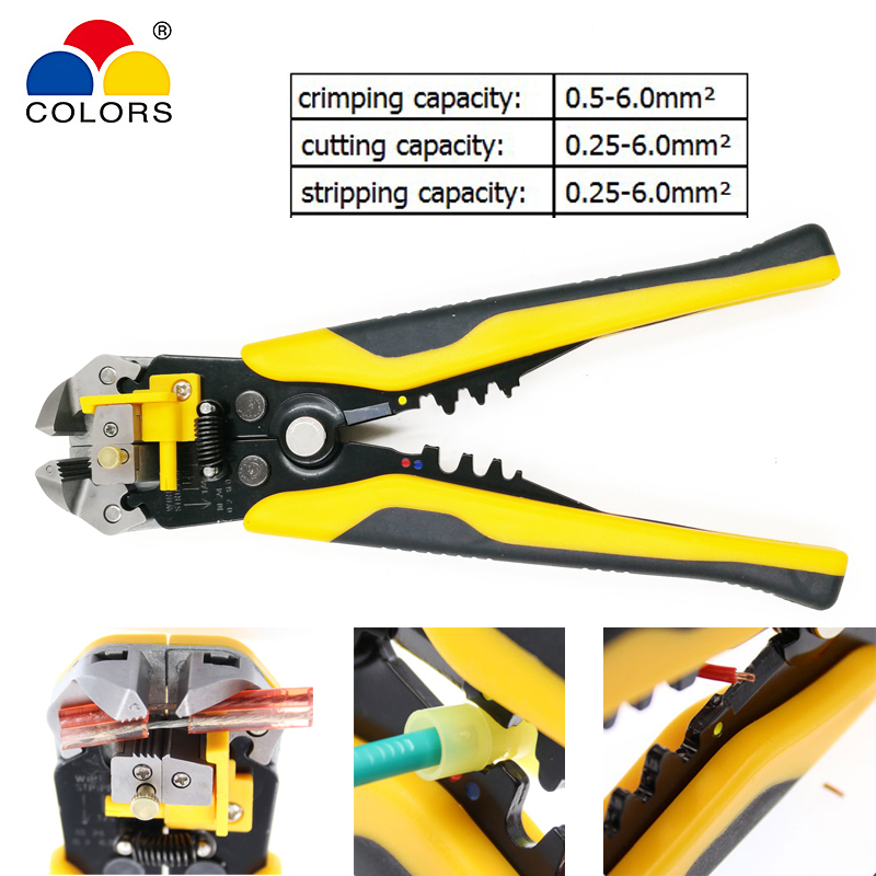 COLORS HS-D1 multifunction pliers Cable cutter stripper Crimper Terminal 3 in 1 Self Adjustable Automatic electrical pliers tool self adjusting automatic cable stripper pliers crimper terminal tool